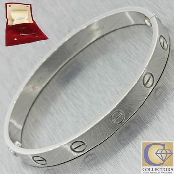 Authentic Cartier 18k White Gold Love Screw Bangle Bracelet 16 w/Pouch