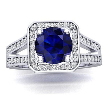 Sapphire Engagement Ring, Blue and White Sapphire Engagement Ring, 14K White Gold, Wedding Ring, RE00153