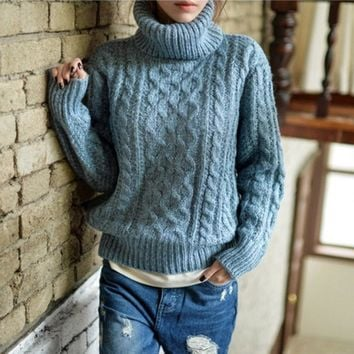 2017 WINTER COLLECTION Women's One Size Big Bulky Cable Knit Turtleneck Pullover Sweater