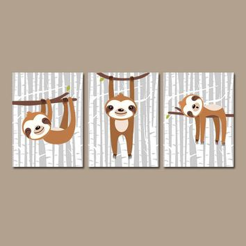 SLOTH Wall Art, Safari Animal Nursery, CANVAS or Prints, Baby Boy Nursery Decor, Playroom Pictures, Modern Nursery Decor Set of 3 Wall Decor