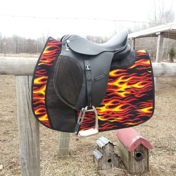 Double Grip Hot Rod Flames MINI / PONY English Saddle Pad