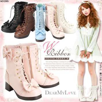 cute ribbon Lolita short boots◆1/28 ships planned