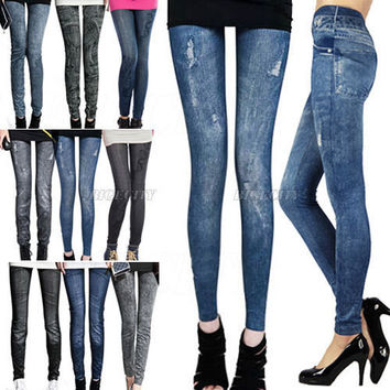 2014 New Women Ladies Wild Snow Denim Jeans Winter Leggings Pencil Pants Fitness Leggings Autumn Winter Warm for Xmas