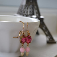 Pink Rose Rhinestone Earrings, Vintage Pink Lucite Rose, Brass Lever Back Earrings, Glass and Lucite