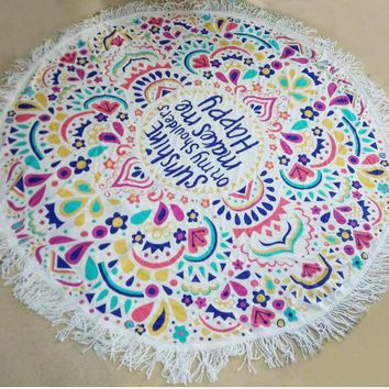 LMF9GW Indian Round Mandala Hippie Tapestry Wall Hanging Throw Towel Boho Beach Yoga Mat with Tassel Shawl Wrap Cotton Home Decor