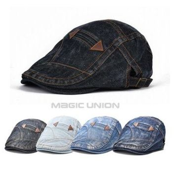 ONETOW New Fashion Spring Summer Jeans Hats for Men Women High Quality Casual Unisex Denim Beret Caps OutDoors Flat Sun Cap for Cowboy [9221460612]