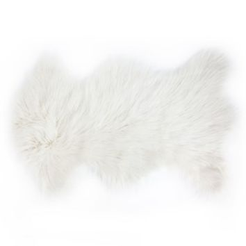 White Faux Mongolian Shaped Scatter Rug