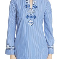 Tory Burch Tory Embroidered Stripe Tunic | Nordstrom