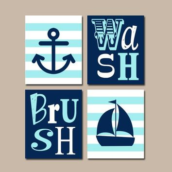 Nautical Bathroom Art, Nautical BATHROOM, Anchor Sailboat art, Brothers Boy Bath Decor, Bath Rules, Canvas or Prints, Set of 4 Decor