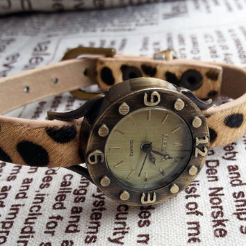 Wrist Watch 037: Leather Watch, Leopard Print, Womens, Vintage Studded Face Watch
