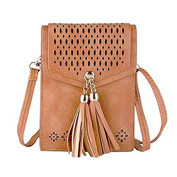 Womens Small Crossbody Bags Tassel Cell Phone Purse Wallet Mini Shoulder Bag PU Leather