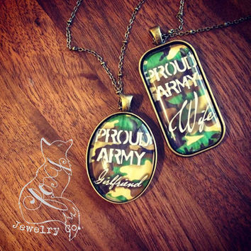 Proud Army Wife/Girlfriend Glass Necklace