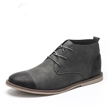 Ankle Boots Men Leather Lace Up Winter Shoes Breathable