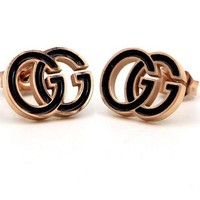 GUCCI Fashonable Women Personality Black/Rose Golden GG Letter Earrings Accessories Jewelry
