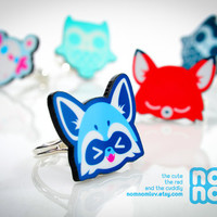 Kawaii Raccoon Adjustable Silver Plated Acrylic Ring by nomnomluv