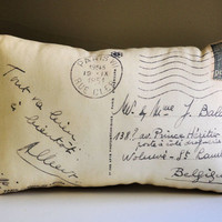 French postcard pillow by lisawinestudios on Etsy