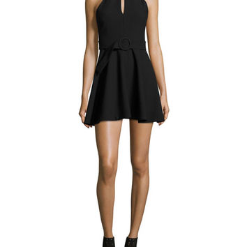 cinq a sept Juni Belted Mock-Neck Mini Dress, Black