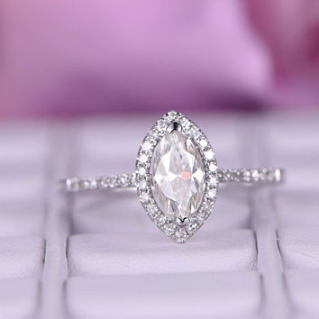 1.01ct Marquise cut Moissanite Engagement ring/Diamond in 14k white gold band/Halo Stacking ring/wedding ring/Half eternity moissanite ring