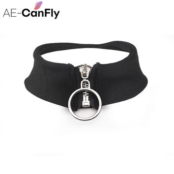 Wide Black Cloth Fabric Choker Necklace Zipper Clasp Gothic Necklace Jewelry for Women 2K5007