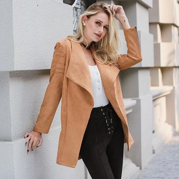 Trendy Lily Rosie Girl Khaki Suede Leather Jacket Casual Zipper Long Open Coat Autumn Winter 2018 Outwear Women Basic Jacket Streetwear AT_94_13