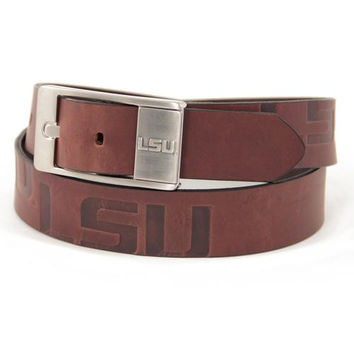 LSU Tigers NCAA Men's Embossed Leather Belt (Size 34)