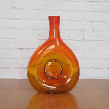 RARE 1959 Blenko Wayne Husted Amberina Donut Decanter #5931 Missing Stopper