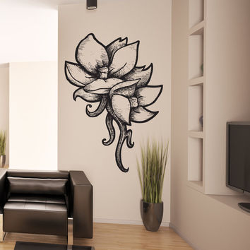 Vinyl Wall Decal Sticker Wood Burn Tropical Flowers #1191