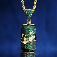 Iced Out Green Small Sprite 14k Gold Finish Pendant Chain