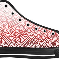 Gradient red and white swirls doodles Black High Tops
