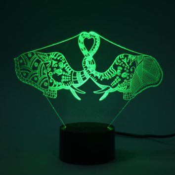 Two Elephants 3D LED Lamp