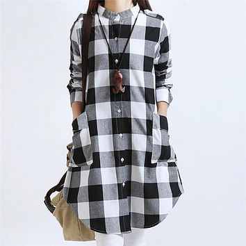 Winter Blouses for Women Tunic Women's Long Sleeve Woman Blouses Autumn 2017 Plaid Shirt Women with Pockets Party Club Checked