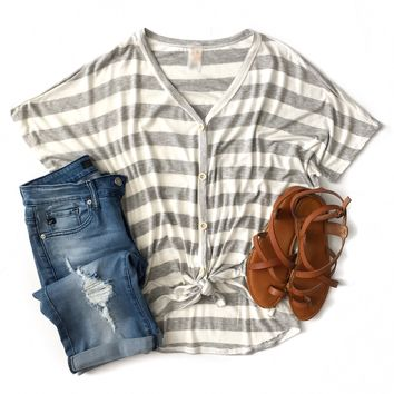 Heather Gray Striped Tie Top