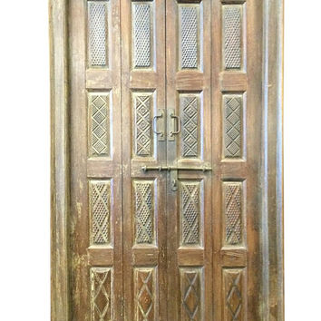 Indian Antique Door Hand Carved Teak Rustic Double Doors Yoga Decor distressed barn doors