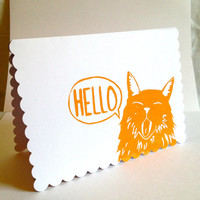 ORANGE CAT STATIONERY hello cat white greeting cards with envelopes, Cat stationary, Cat, gift for cat lover, gift for animal lover