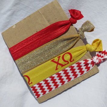 Chi Omega Sorority Hair Elastic Set