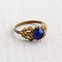 Antique Blue Glass Stone Ring - Vintage 1930s Size 7 Czech Brass Filigree Art Deo Costume Jewelry / Sapphire Blue Crystal