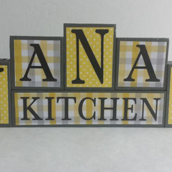 Wood Block Sign - Nanas Kitchen - Yellow and Gray