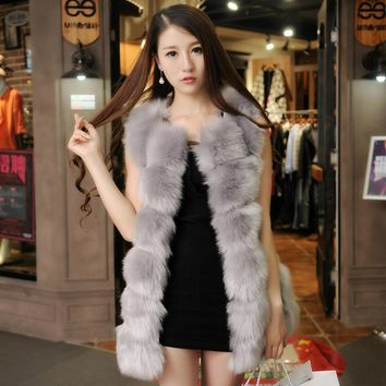 Plus Size Winter Women Faux Fox Fur Vest Long Fur Gilet Ladies Striped Sleeveless Rabbit Fur Coat and Jacket Waistcoats
