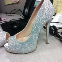 Glitter Peep Toe Platforms with Crystals - David's Bridal