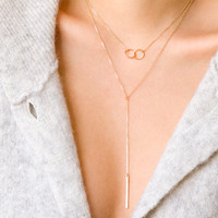 Skinny Bar Drop Necklace, Dainty Short Lariat Necklace, Simple Y Necklace in Sterling Silver, Gold Filled, Rose Gold Filled