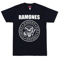 Ramones Classic Seal Punk Band Logo Licensed Adult Unisex T-Shirt - Navy - M