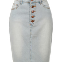 LE3NO Womens High Waisted Button Up Denim Midi Pencil Skirt