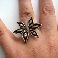 Anise cocktail ring bronze & stainless steel