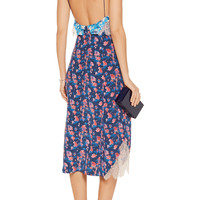 Tanya Taylor Hana lace-trimmed printed silk-crepe dress – 58% at THE OUTNET.COM