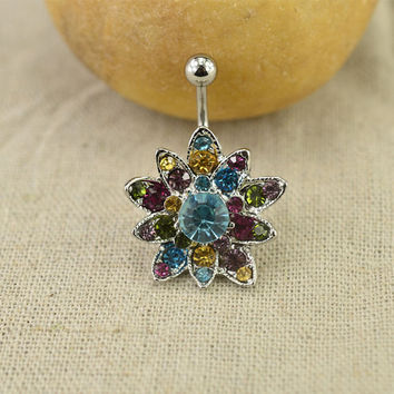 bellybutton ring sparkling flower belly ring 14g fantastic belly button piercing,belly ring,bff gift