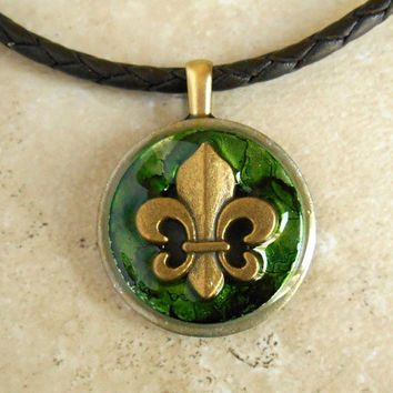 Fleur de Lis Necklace: Green - Mens Necklace - Mens Jewelry - Mardi Gras - New Orleans - France - Leather Cord - Fathers Day