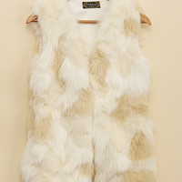 'The Vera' White Sleeveless Fur Vest