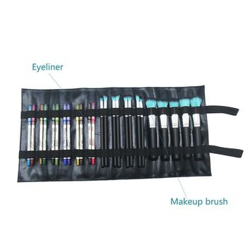 Lipstick Rolling Case Cosmetic Bag Organizer Professional Leather Case Beauty Pouch Holder Practical Pen Pencil Storage Pocket Make Up Tool Case with Elastic Belt for Travel & Home (rolling bag)