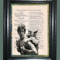 Luke Skywalker with Yoda - Vintage Dictionary Book Page Art Print Upcycled Page Art Mixed Media Art Star Wars Print