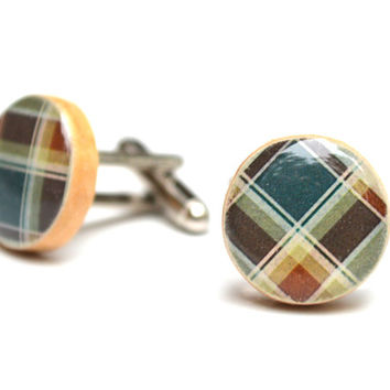 Plaid cufflinks, 5th anniversary gift wood cufflinks mens fall fashion cufflinks mens accessories unique cufflinks by starlight woods